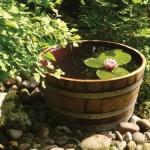 Holzfass als Pflanzkübel oder Miniteich von Temesso
