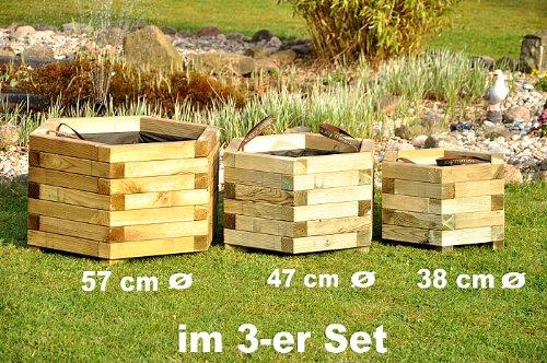 Sechseckige Pflanzkübel von Forest-Style aus Holz im 3er Set